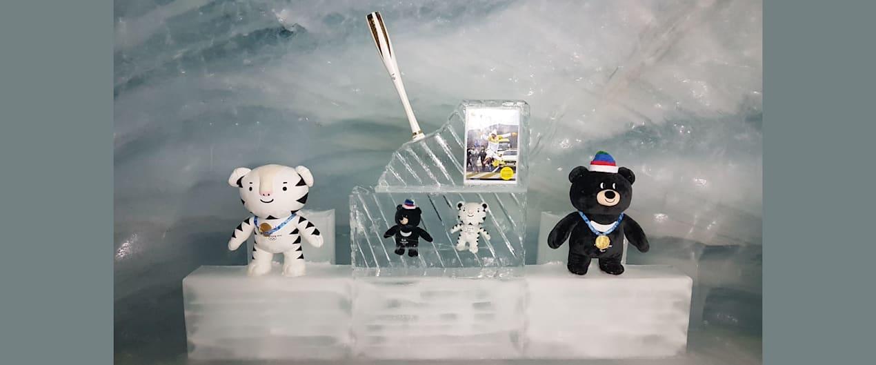 Fackel und Maskottchen im Eispalast