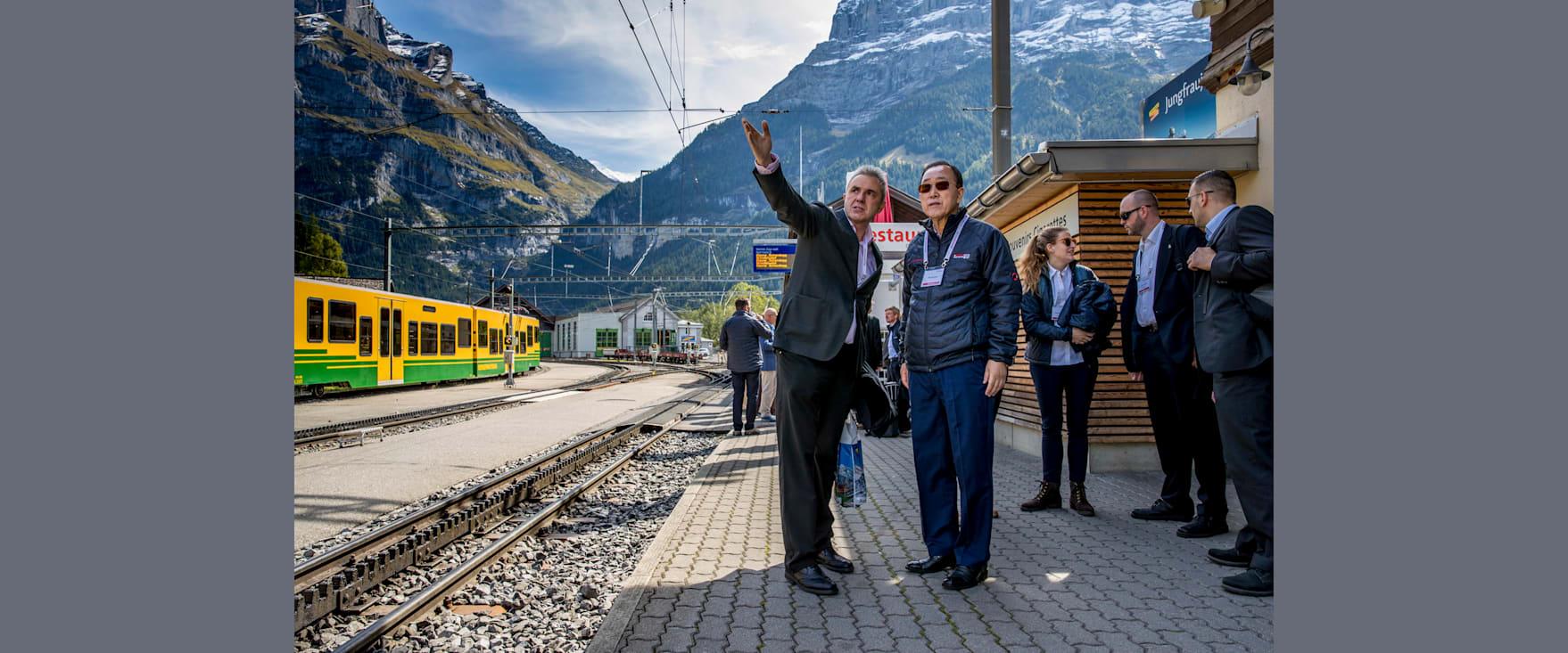Urs Kessler mit Ban Ki moon in Grindelwald Grund