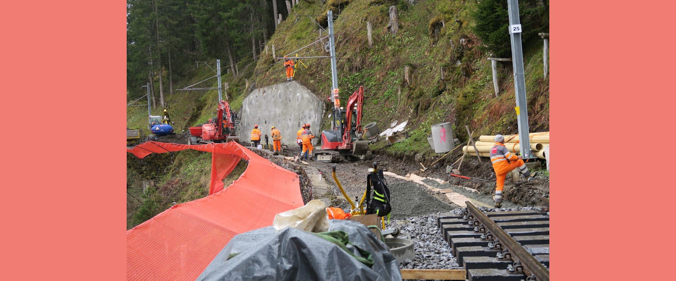 Arbeiten für Gleise Kabelrohrblock und Sammelleitung kl