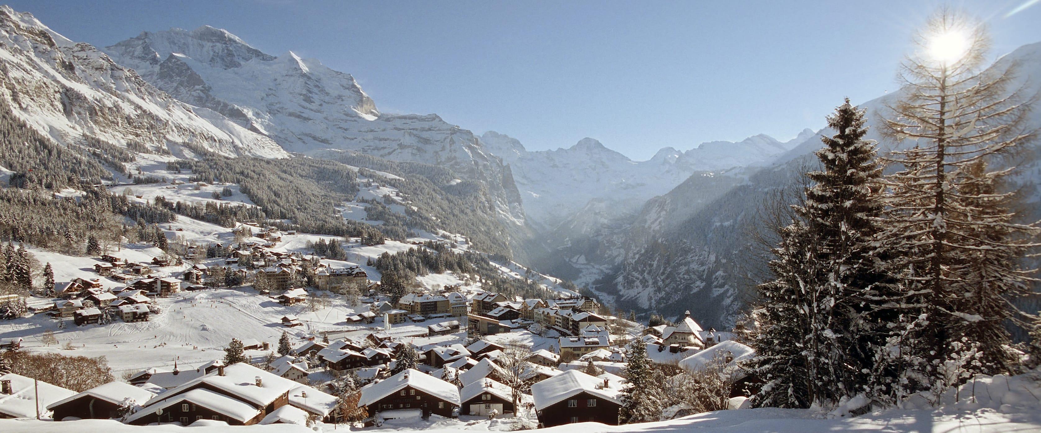 Wengen Winter Schnee Alpen Lauterbrunnental