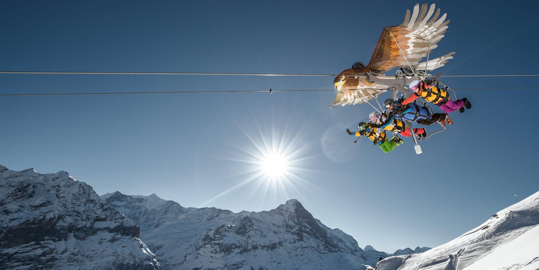 BernerOberland, Erlebnisse-Aktivitaeten, First-Glider, Jahreszeit, Schnee, Schweiz, Skigebiet-Grindelwald-First, Skiresorts, Switzerland, Winter, jungfrau.ch