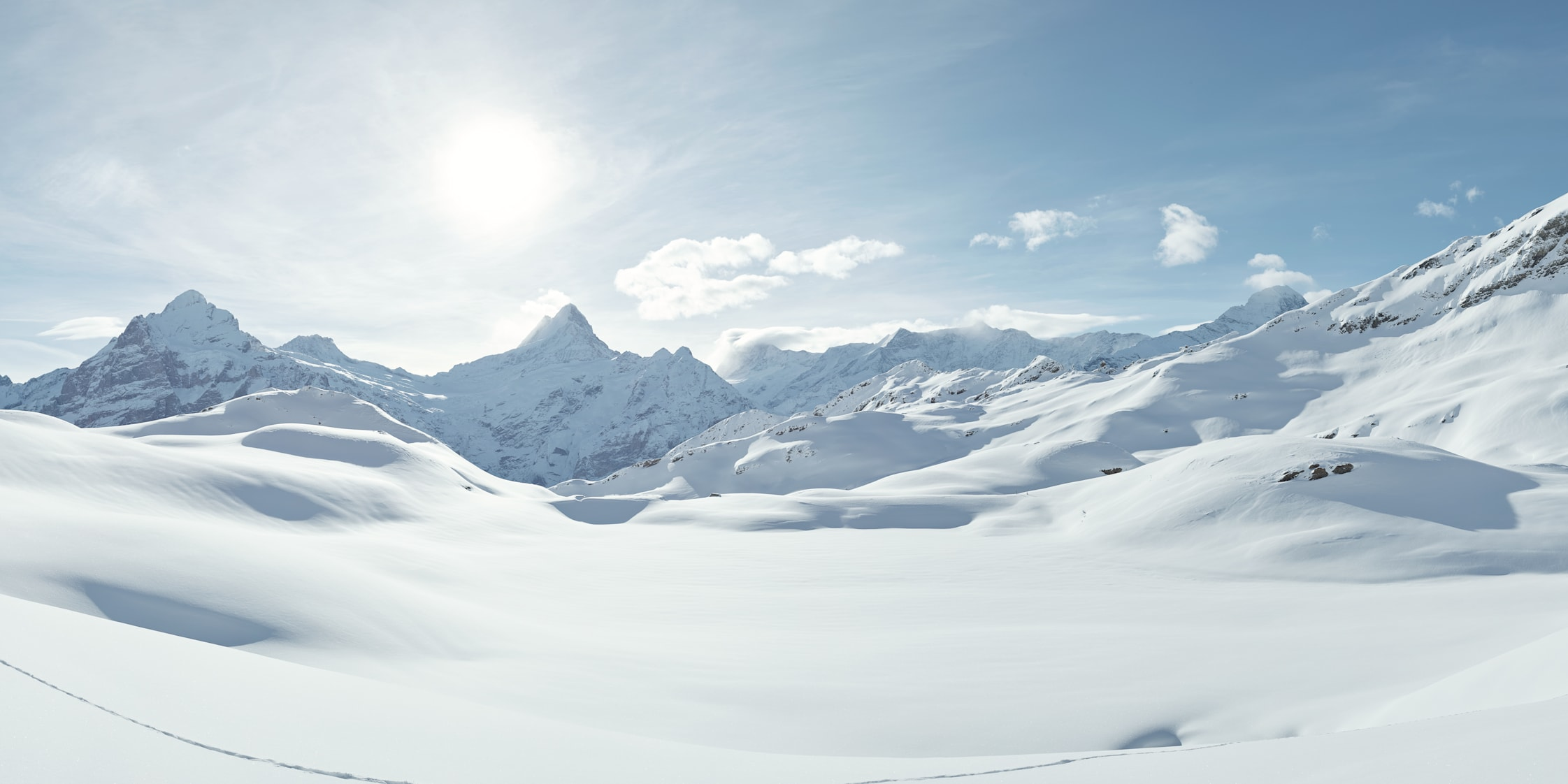 Grindelwald First Bachalpsee Schreckhorn Panorama Winter