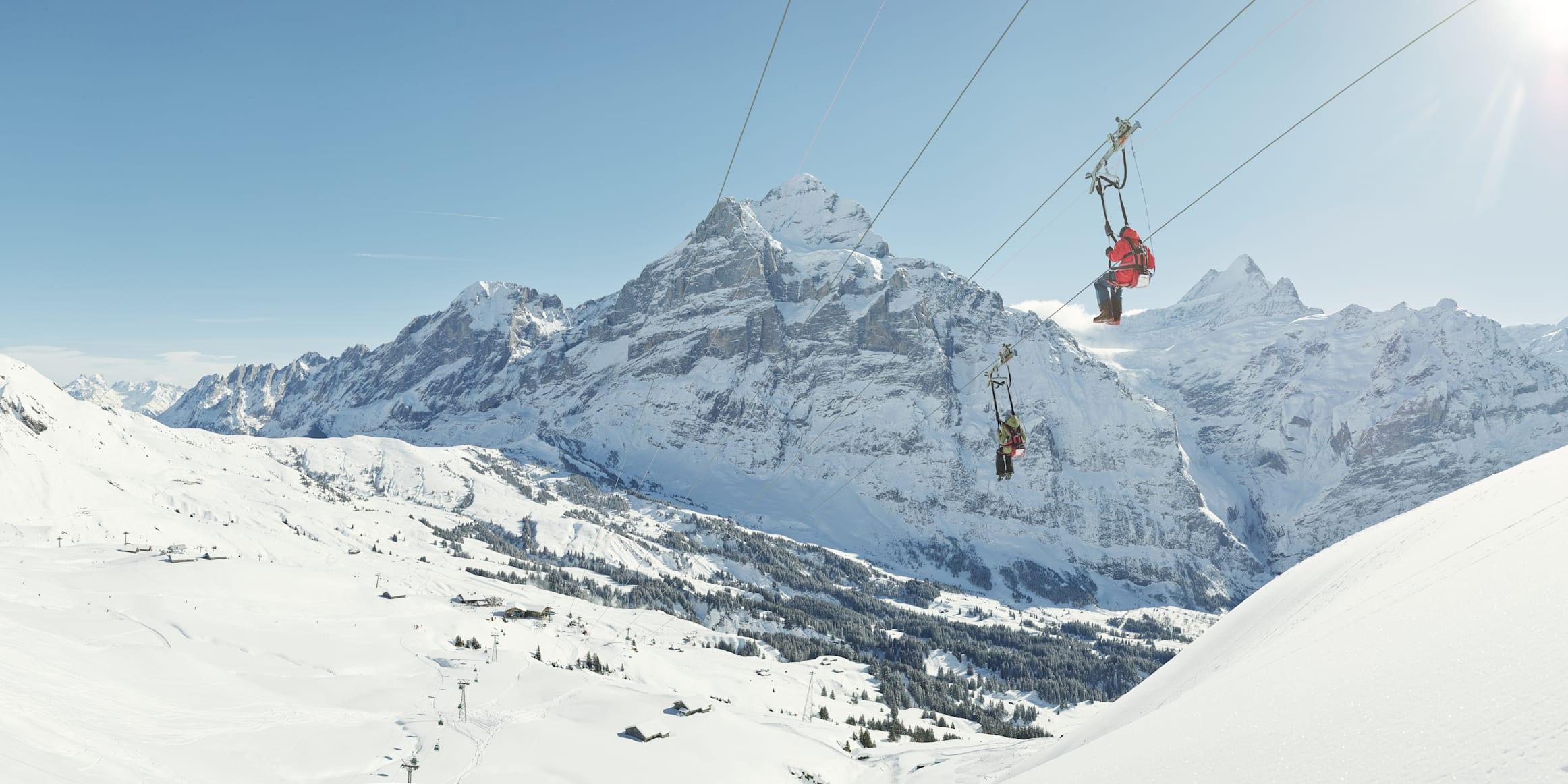First Flyer winter snow Grindelwald Eiger