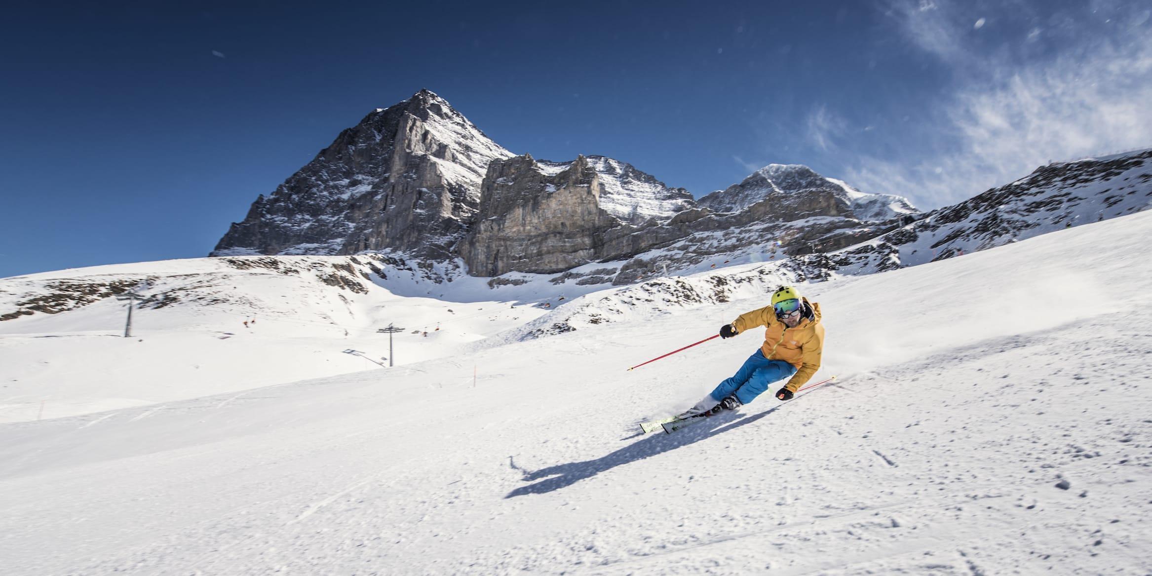 Jungfrau Skiregion Skifahren Piste Schnee Eiger