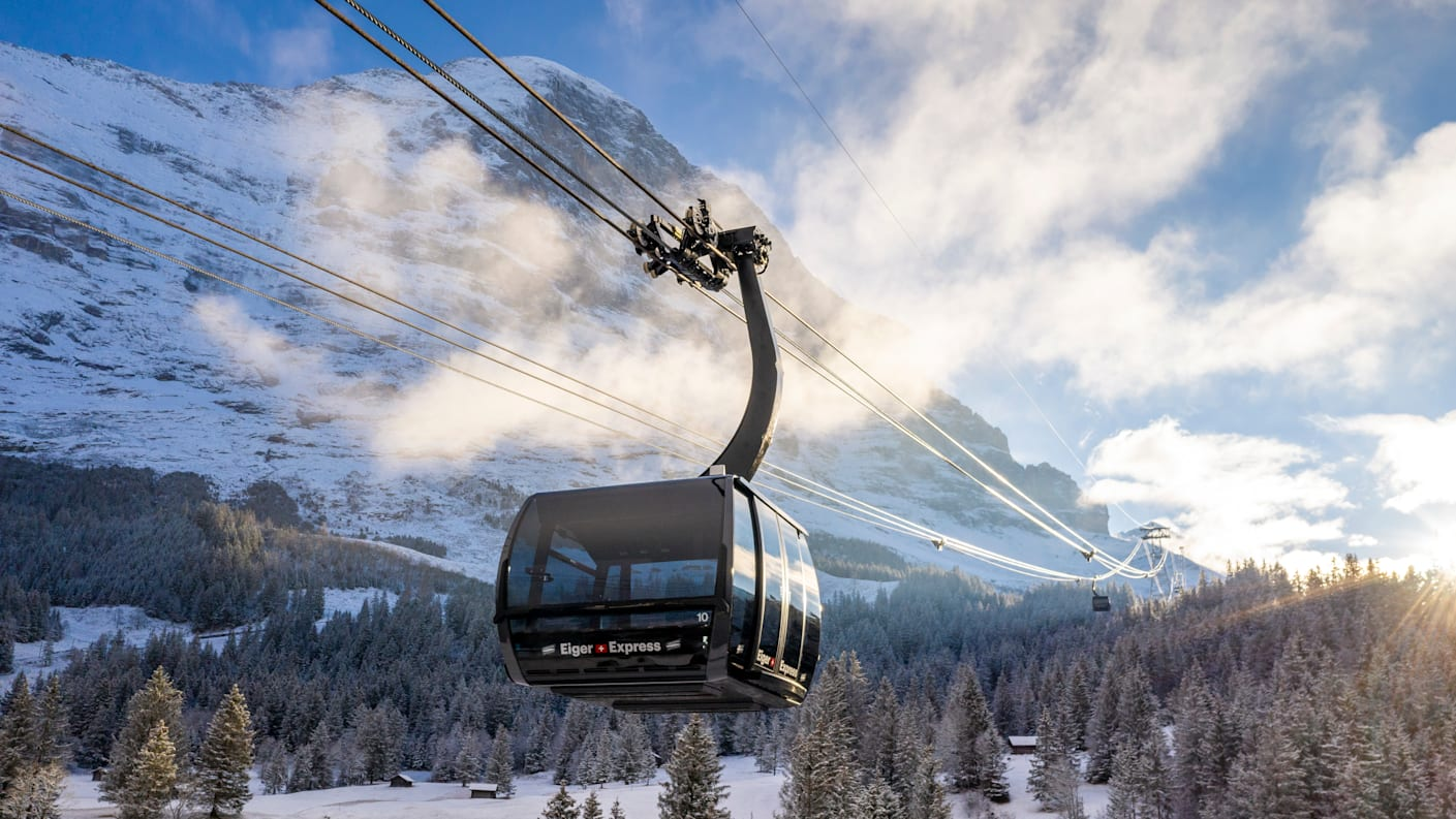 Evening-morning mood, cable car machines, mountains, Eiger, Eiger-Express, autumn, Silberhorn, summer, V-Cableway, conditions