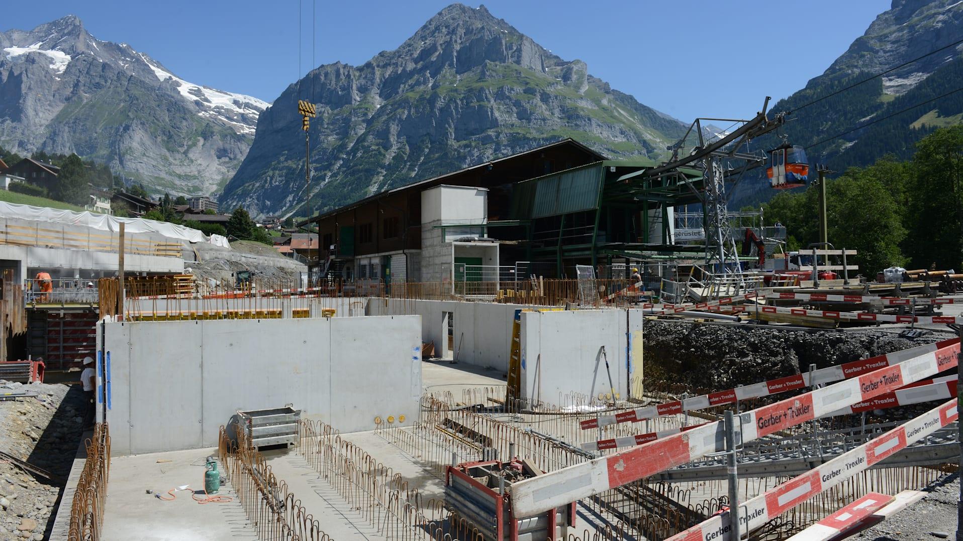 Grindelwald Grund construction site July 2018