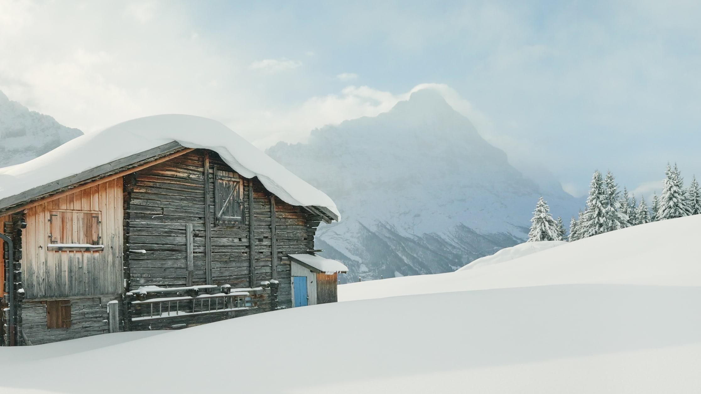 Grindelwald First winter alpine hut Eiger