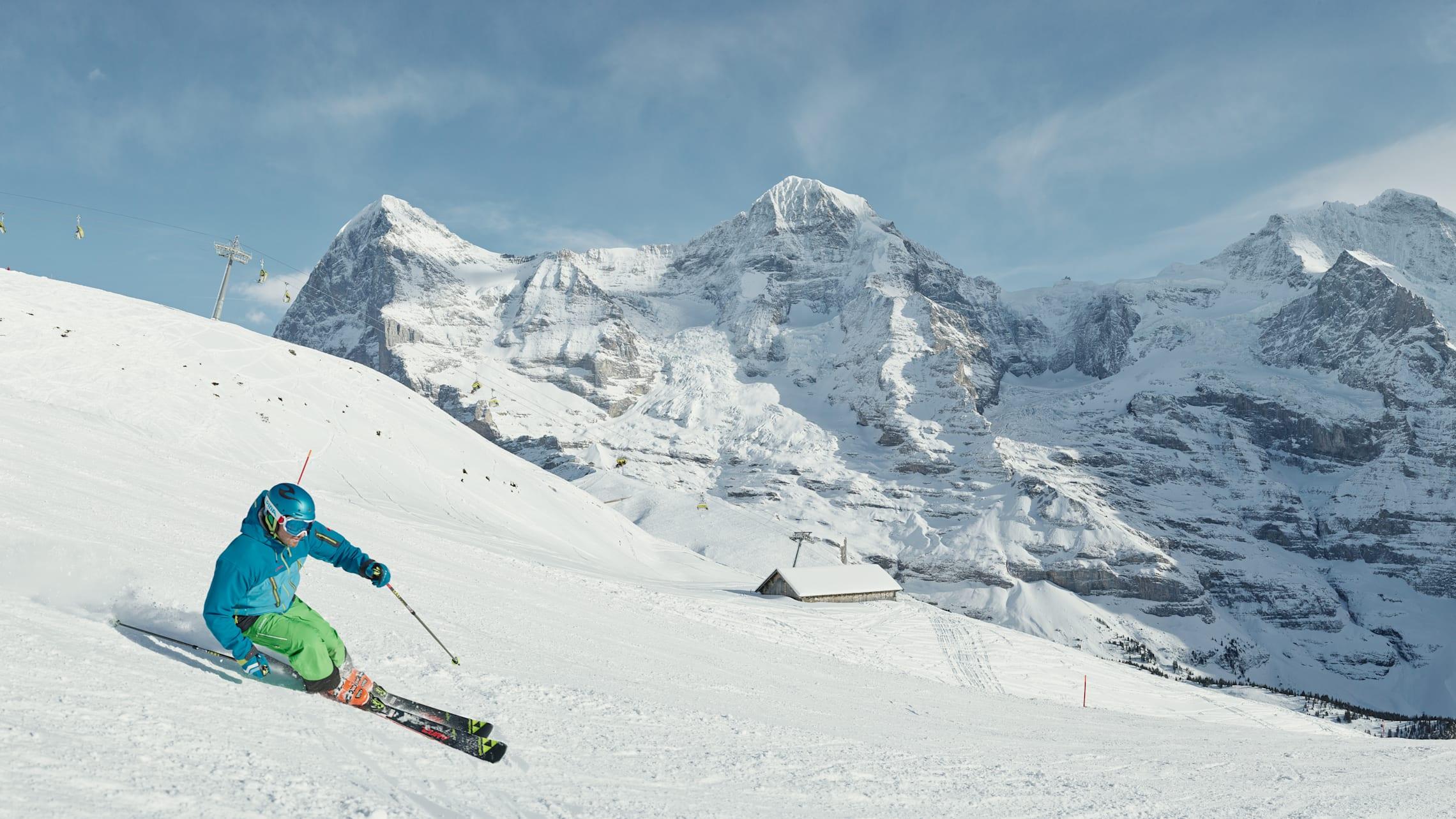Kleine Scheidegg skiing Lauberhorn Eiger Moench Jungfrau