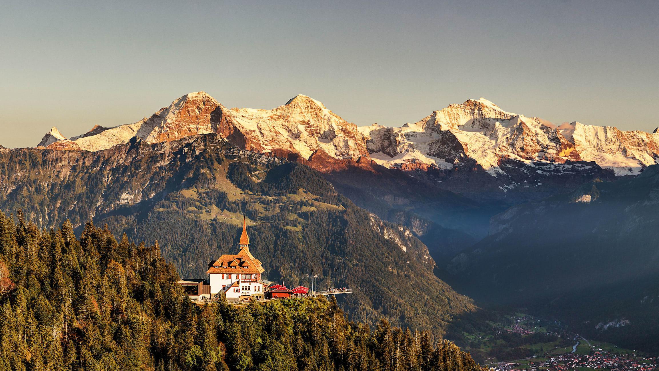 Harder Kulm Panorama Eiger Moench Jungfrau Sunset