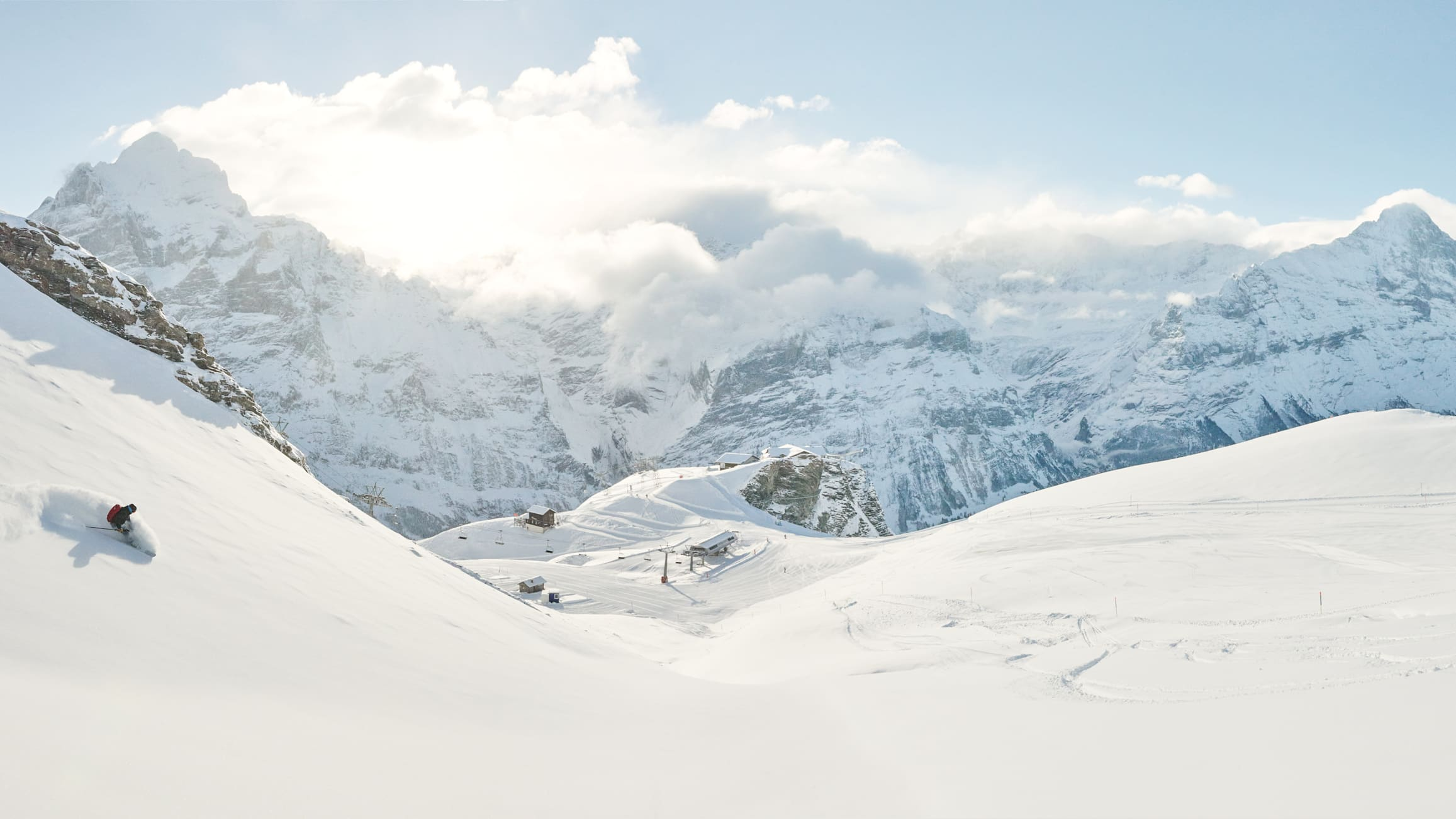 Grindelwald First Winter skiing freeride panorama
