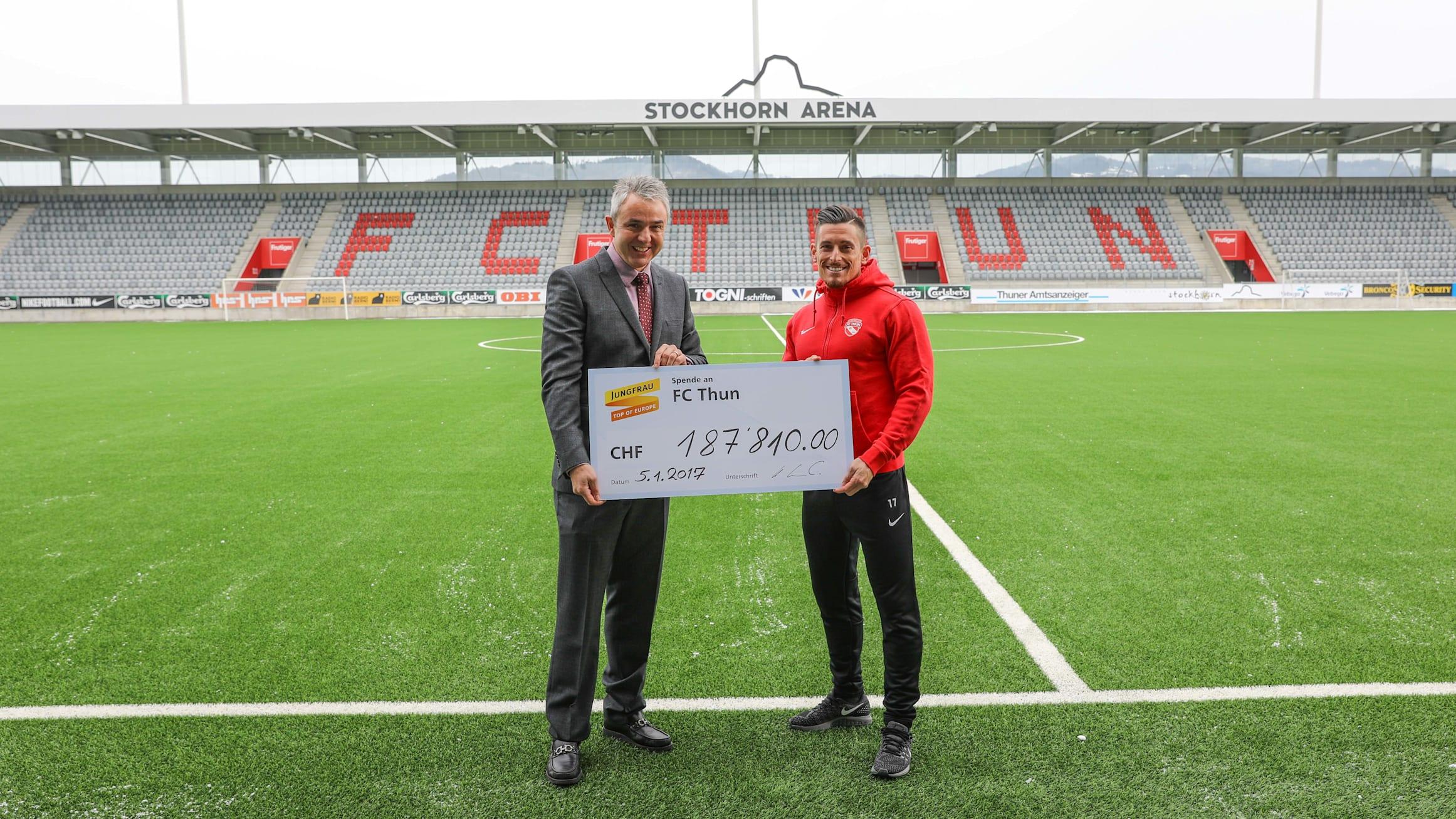Urs Kessler Direktor Jungfraubahnen und Dennis Hediger Captain FC Thun