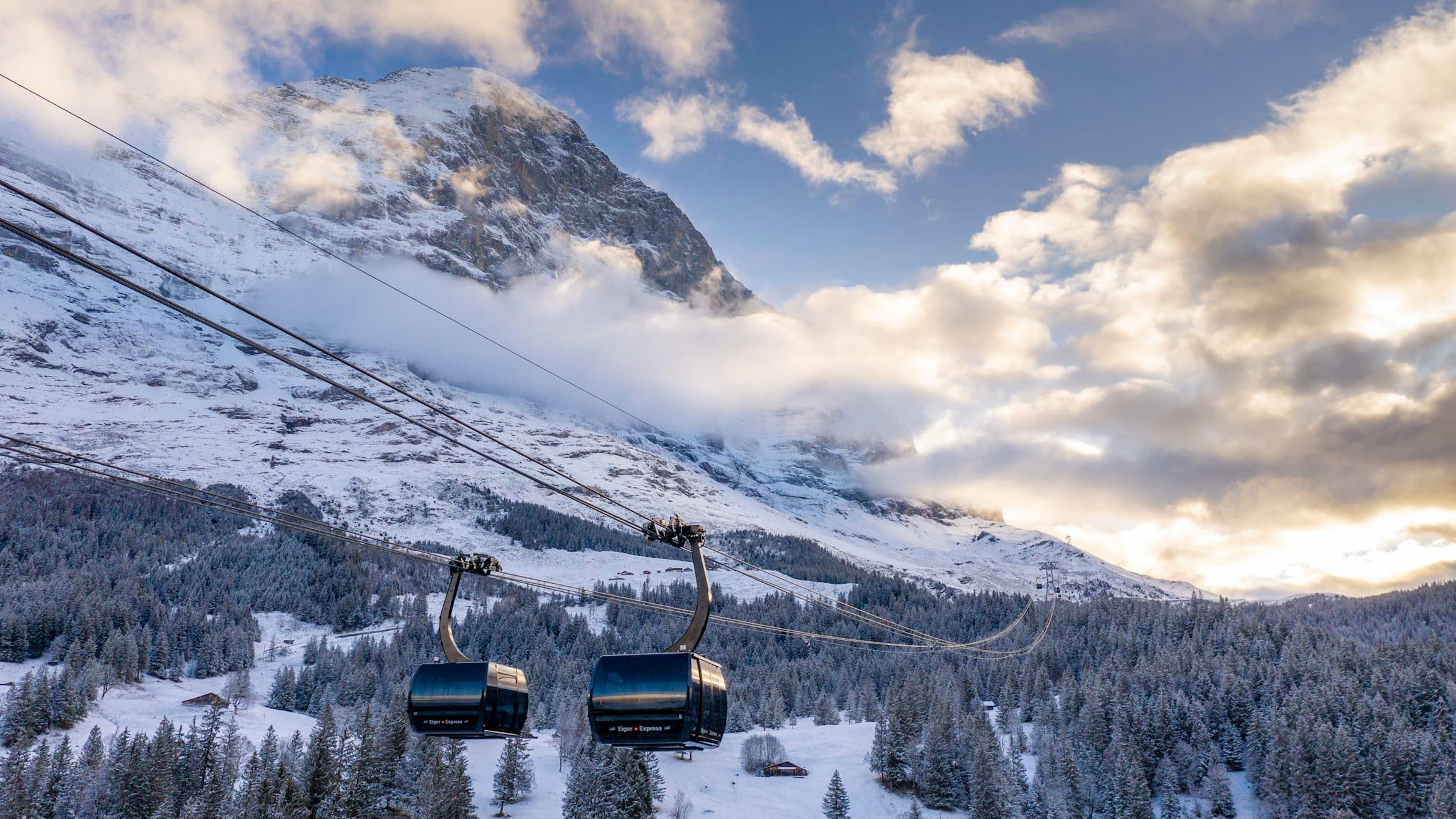 3sbahn, BernerOberland, Eiger, Gondel, Gondelbahn, Grindelwald, Jungfrau, Kabinenbahn, November, Schweiz, Seilbahn, Switzerland, Terminal, Transport, Winter, jungfraubahnen, vbahn