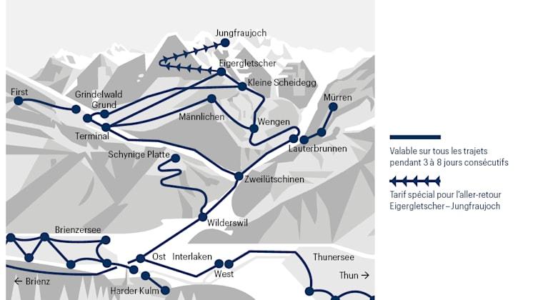 Zone applicable pour le Pass voyage Jungfrau