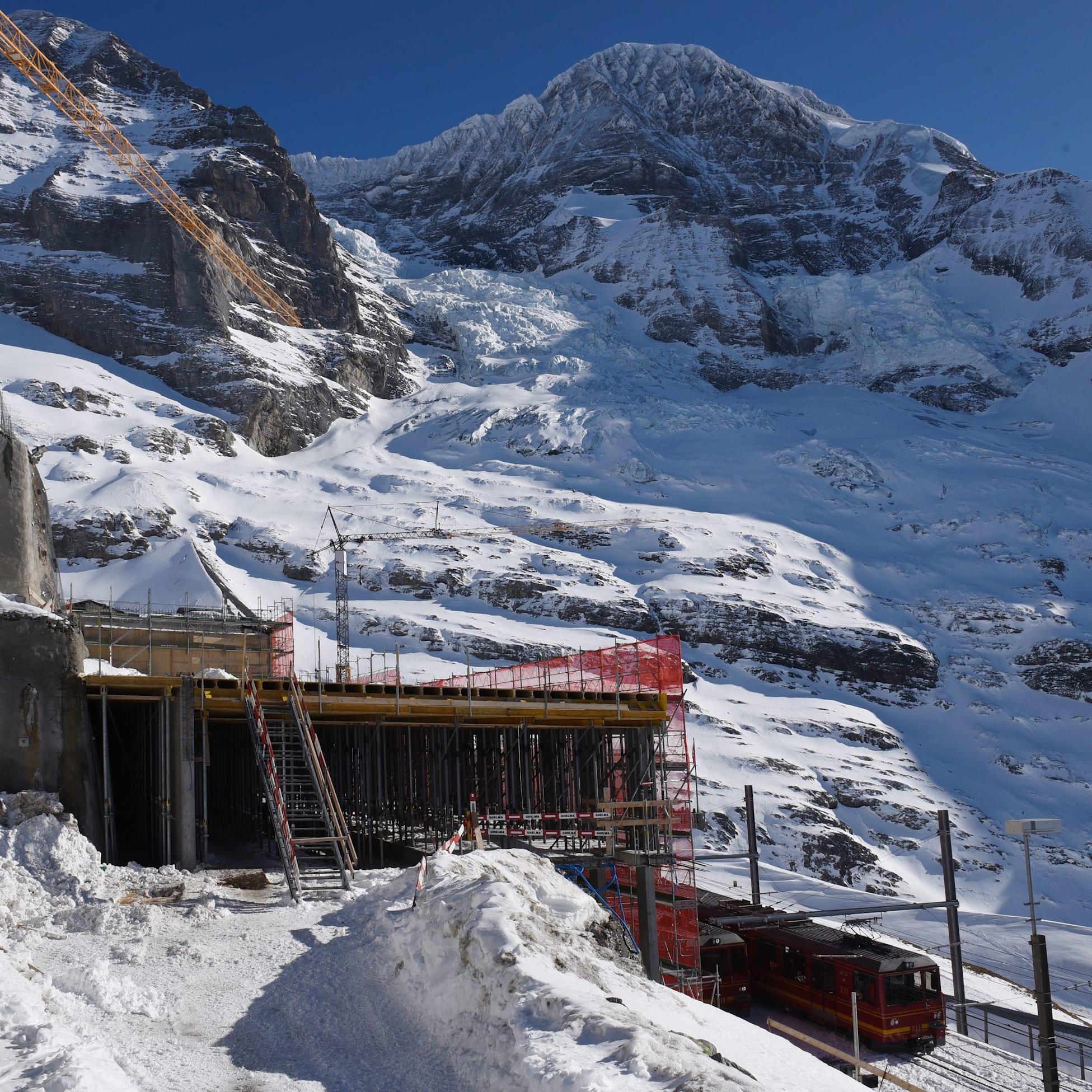 Eiger Glacier railway station construction site February 2020