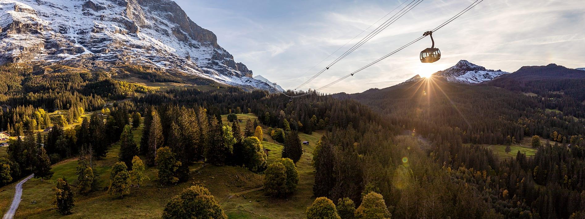 Eiger Express Grindelwald Eigernordwand Panorama Sonnenuntergang