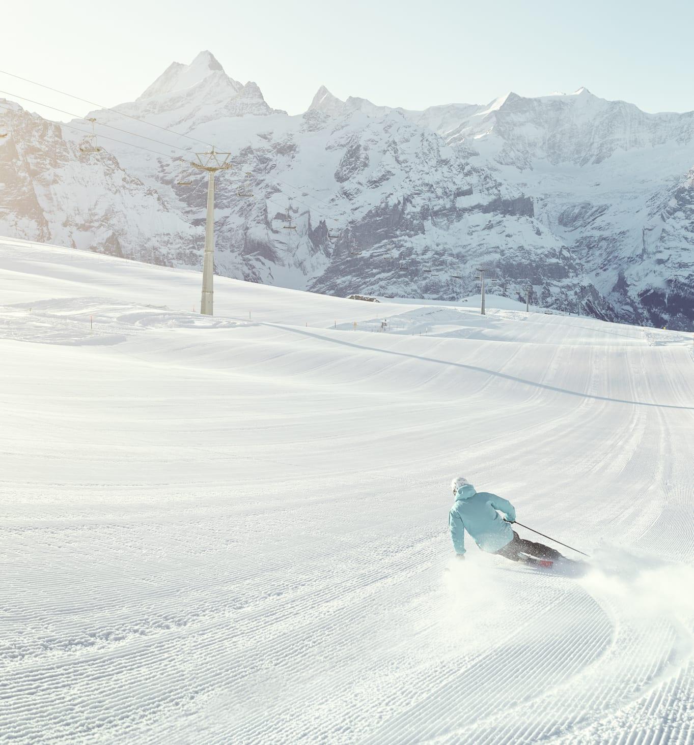 Grindelwald First Winter Skifahren Alpen Panorama