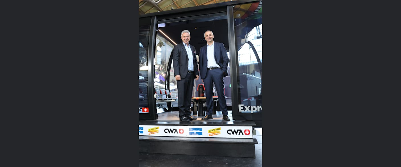 Eiger Express 3 mit Jungfraubahnen Direktor Urs Kessler und Garaventa CEO Arno Inauen