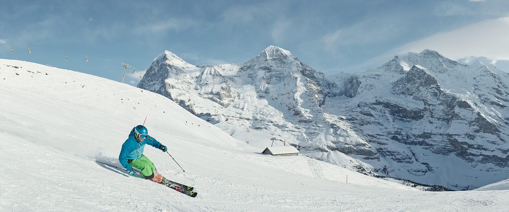 Kleine Scheidegg Skifahren Lauberhorn Eiger Moench Jungfrau