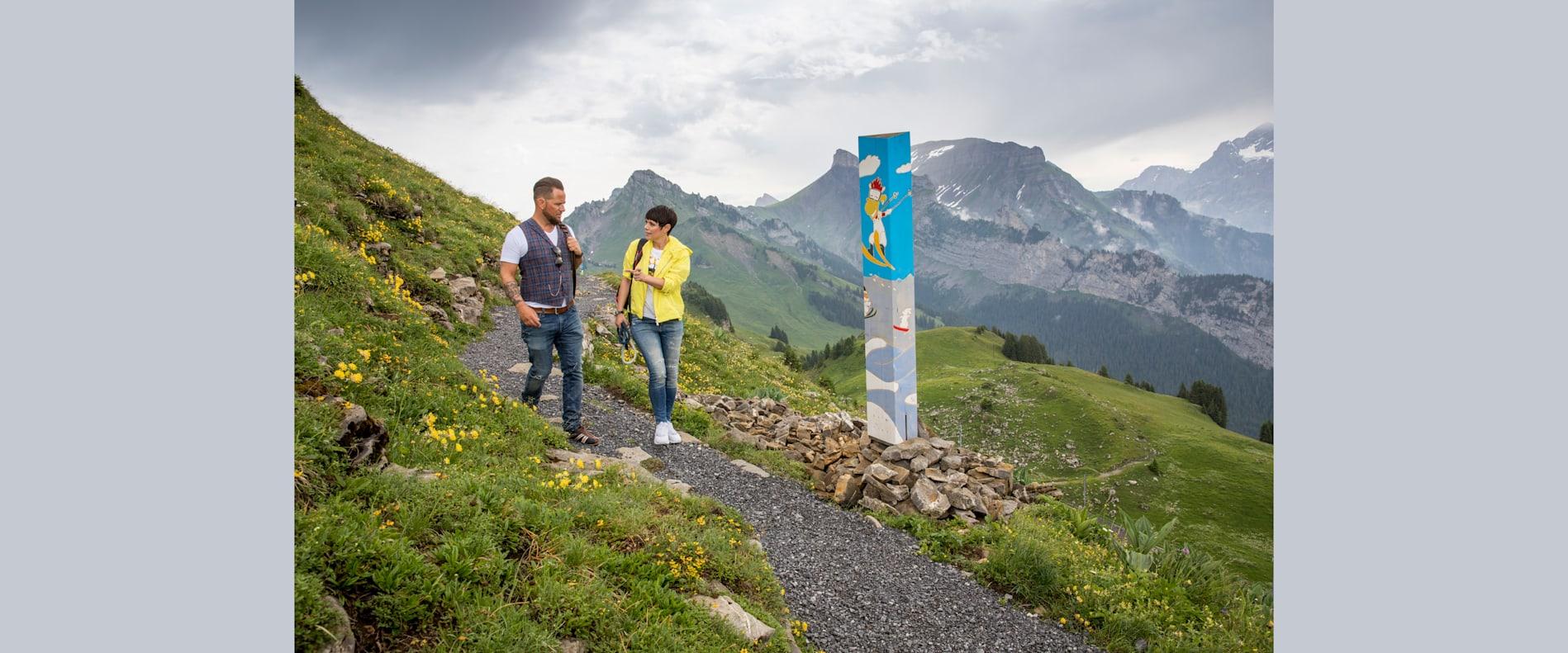 Marc Trauffer und Francine Jordi auf dem neuen Swiss Flower Panorama Cheese Trail