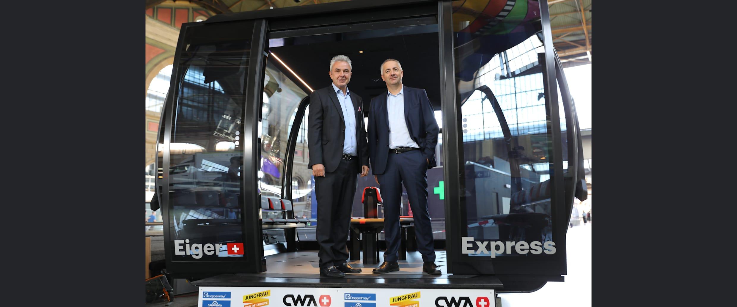 Eiger Express 2 mit Jungfraubahnen Direktor Urs Kessler und Garaventa CEO Arno Inauen