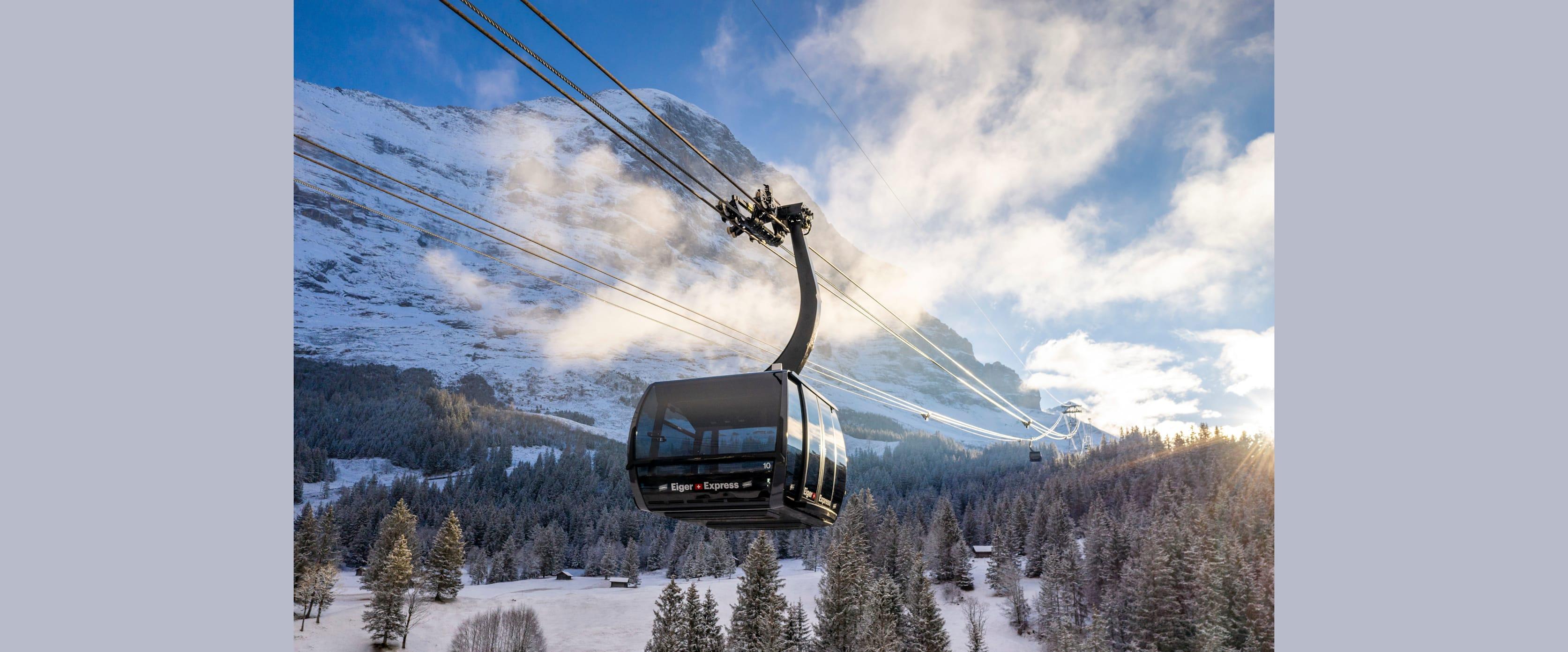 Eiger Express Grindelwald Eigernordwand Nahansicht Winter kl
