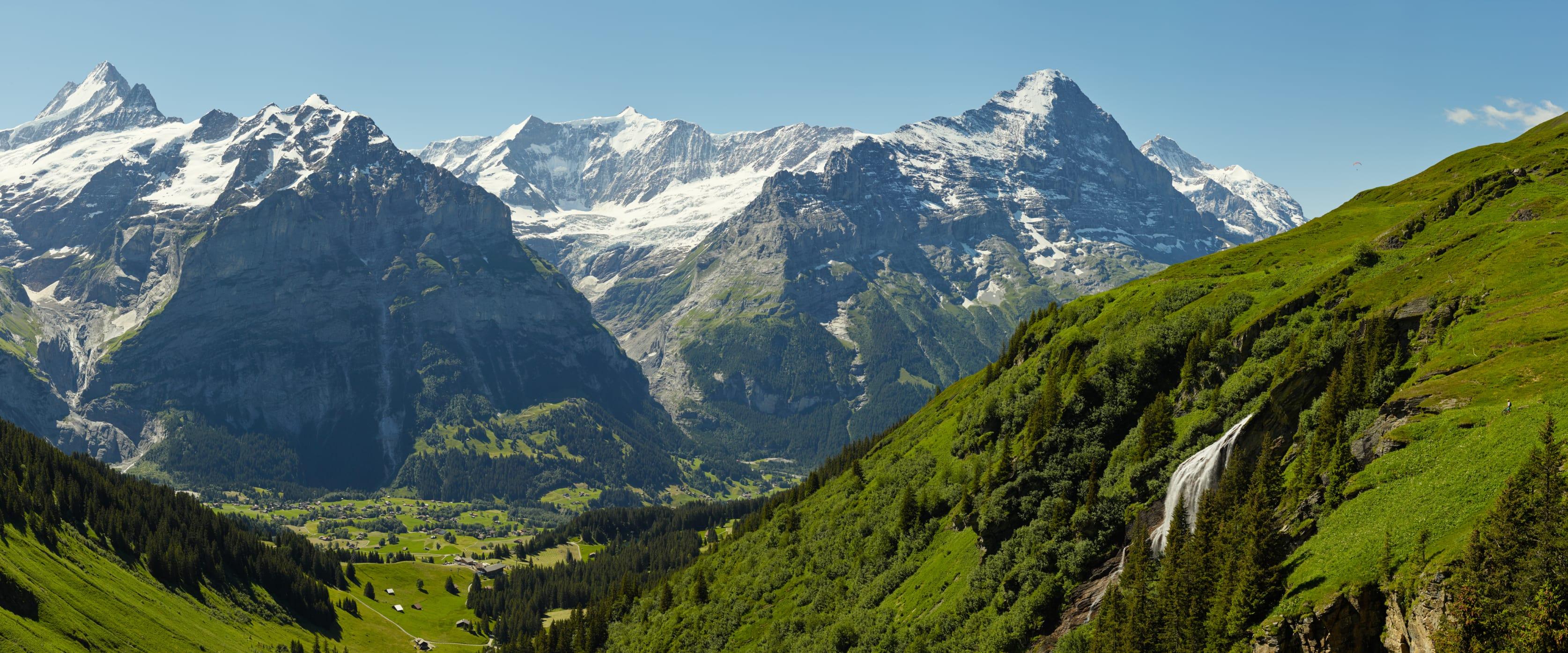 Biken Eiger Schreckhorn Panorama Grindelwald Wasserfall