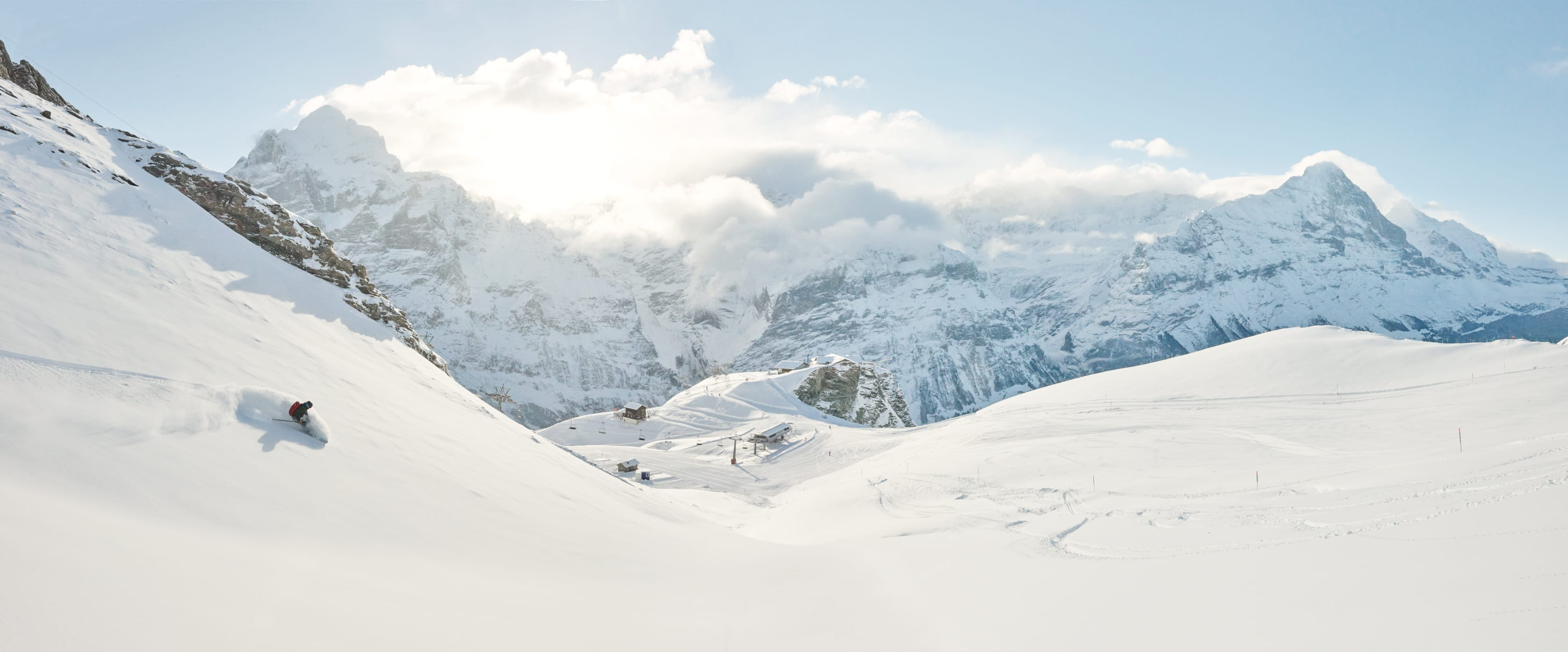 Grindelwald First Winter Skifahren Freeride Panorama