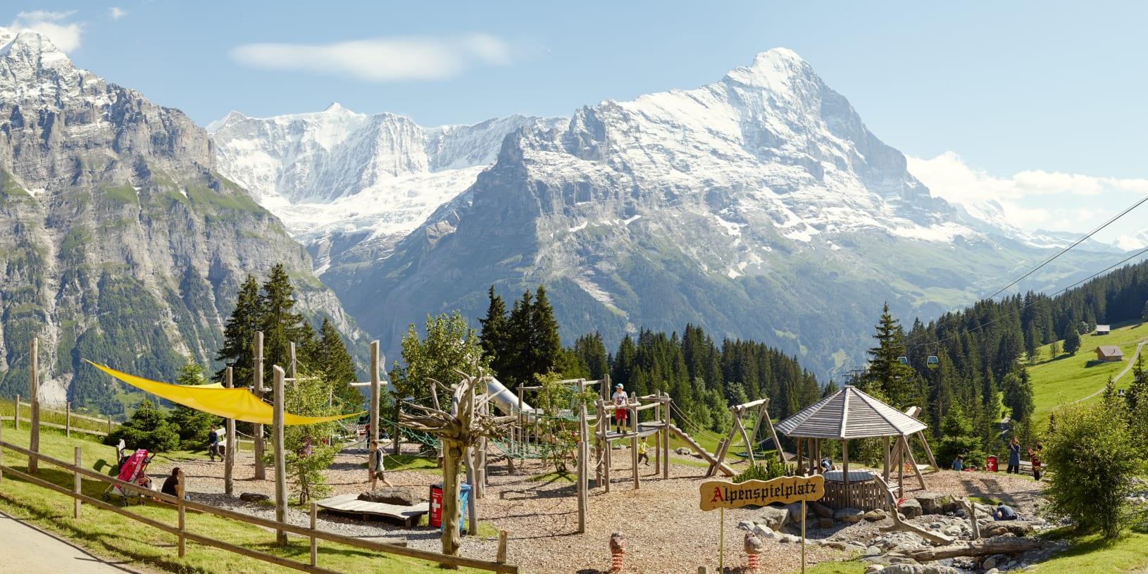 Grindelwald Alpenspielplatz Bort Kinder Eiger Sommer