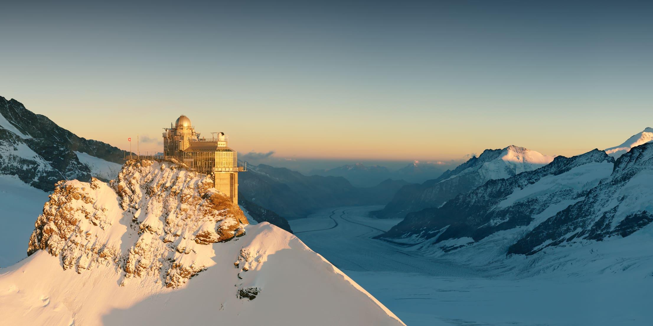 Jungfraujoch Sphinx Gletscher Sonnenuntergang