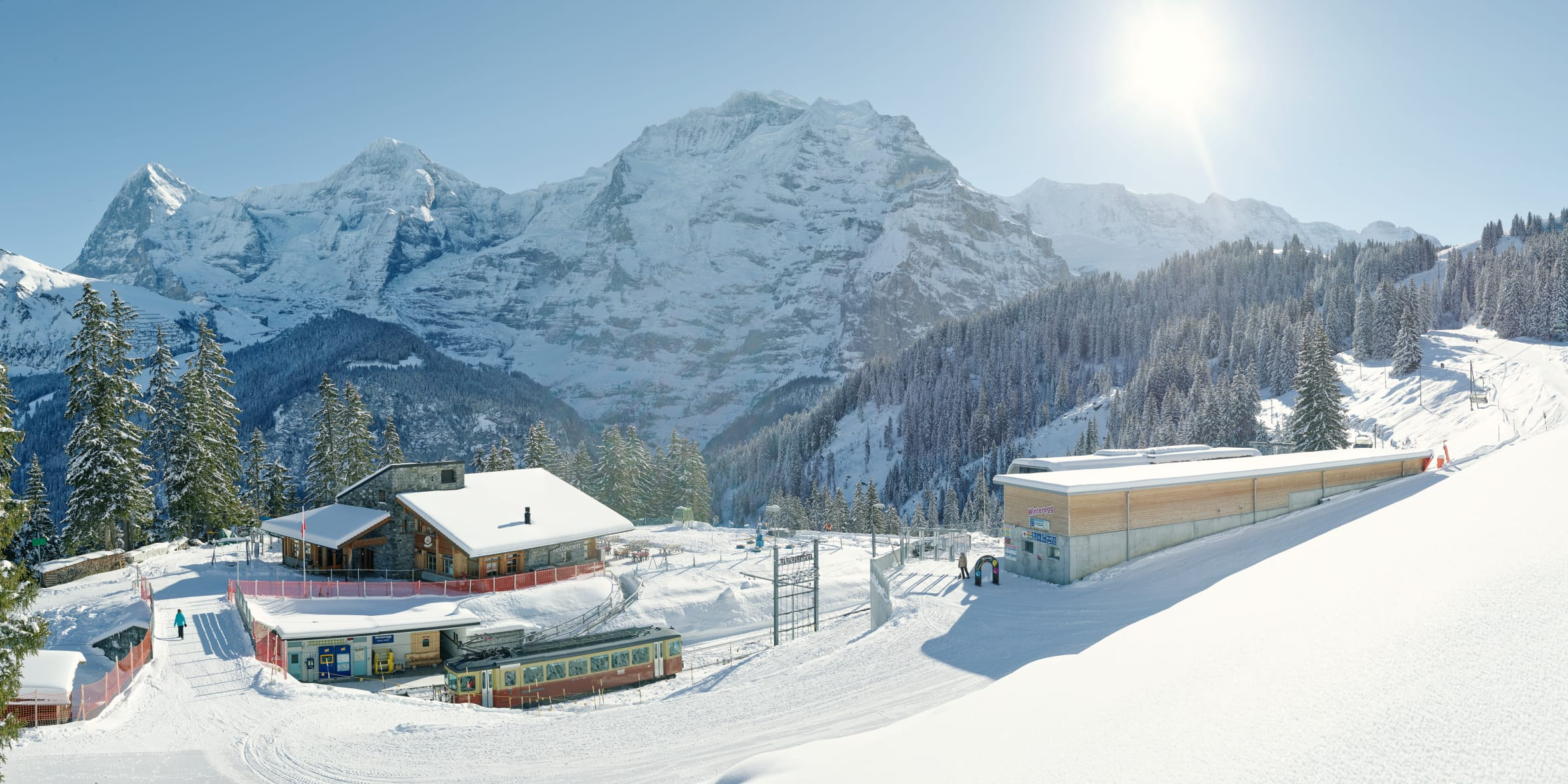 Bahnen-Maschinen, Bergbahn-Lauterbrunnen-Muerren, Jungfrau-Ski-Region, Neuschnee, Winter, Winteregg-Muerren, jungfrau.ch
