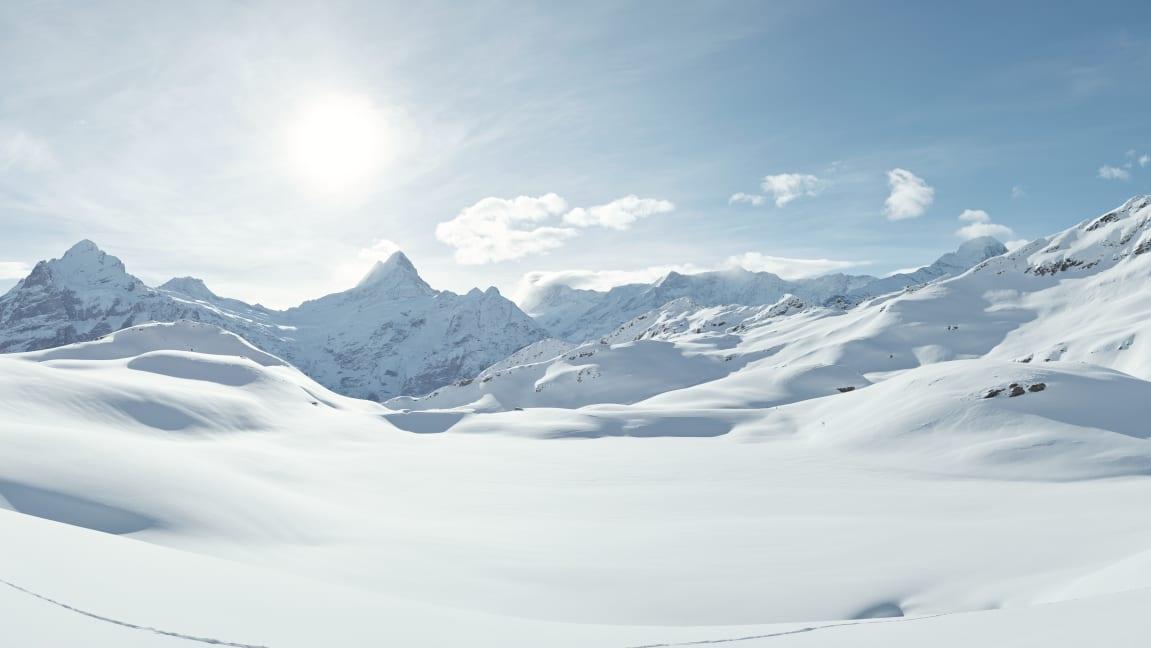 Bachalpsee, Erlebnisse-Aktivitaeten, Jungfrau-Ski-Region, Neuschnee, Skigebiet-Grindelwald-First, Winter, Winterwandern