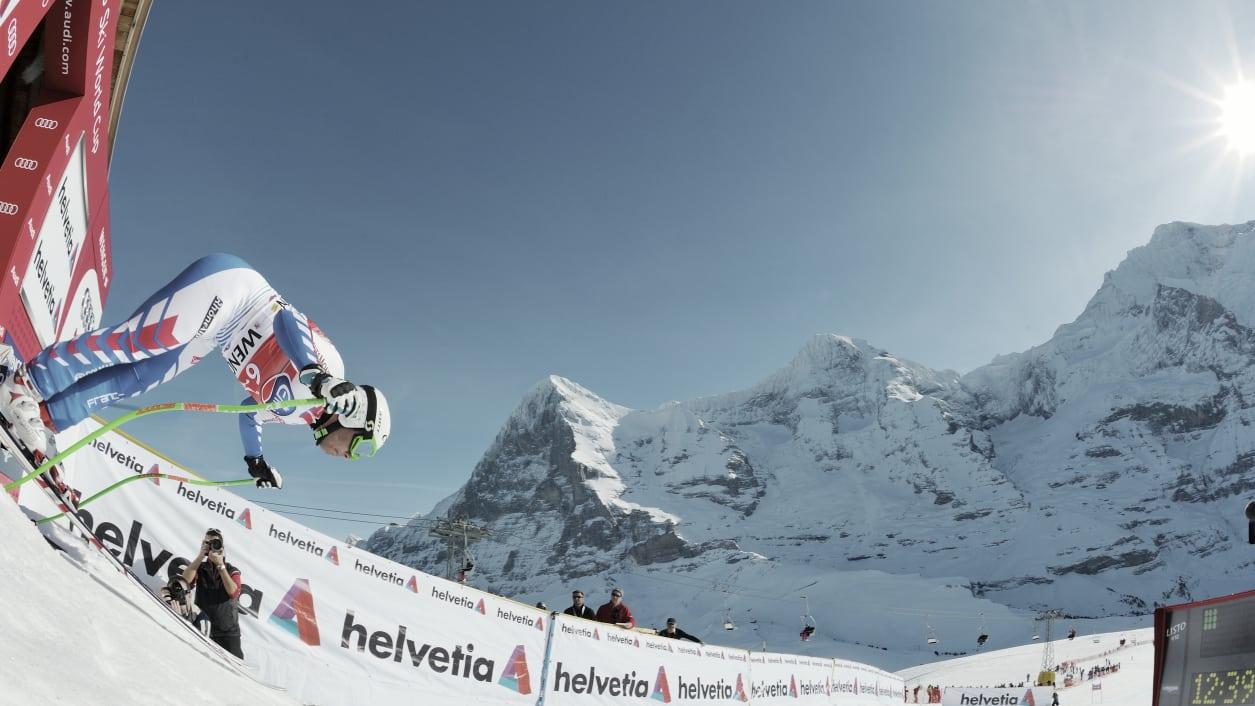 Lauberhorn Abfahrt Start Eiger Moench Skifahren