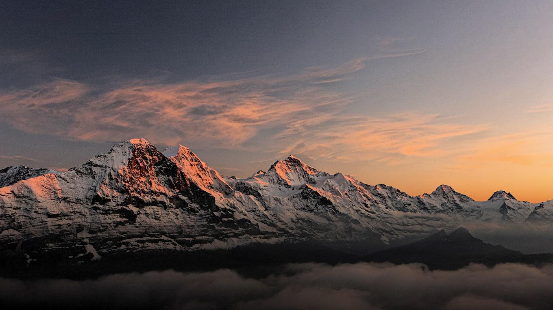 Abend-Morgenstimmung, Berge, Eiger, Eiger-Mönch-Jungfrau, Jahreszeit, Jungfrau, Mönch, Sommer, Verhältnisse