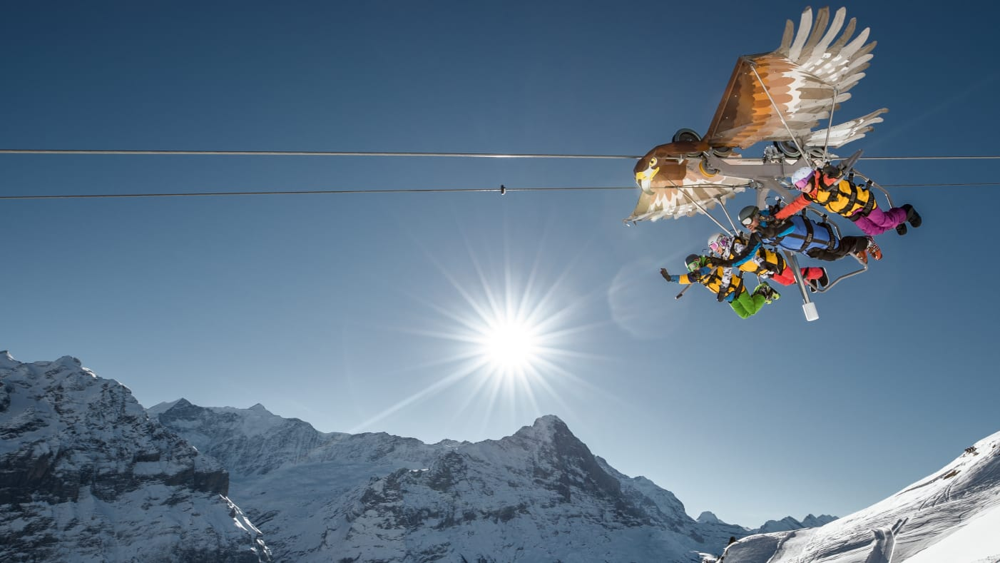 Bernese Oberland, experience activities, First-Glider, season, snow, Switzerland, Grindelwald-First ski area, ski resorts, Switzerland, winter, jungfrau.ch