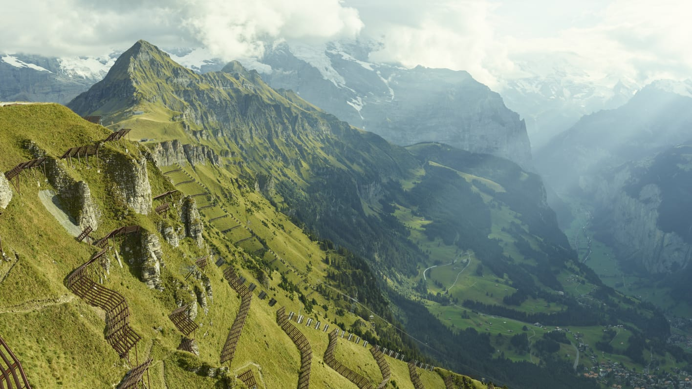 Wandern Maennlichen Wengen Panorama Lauterbrunnental Sommer