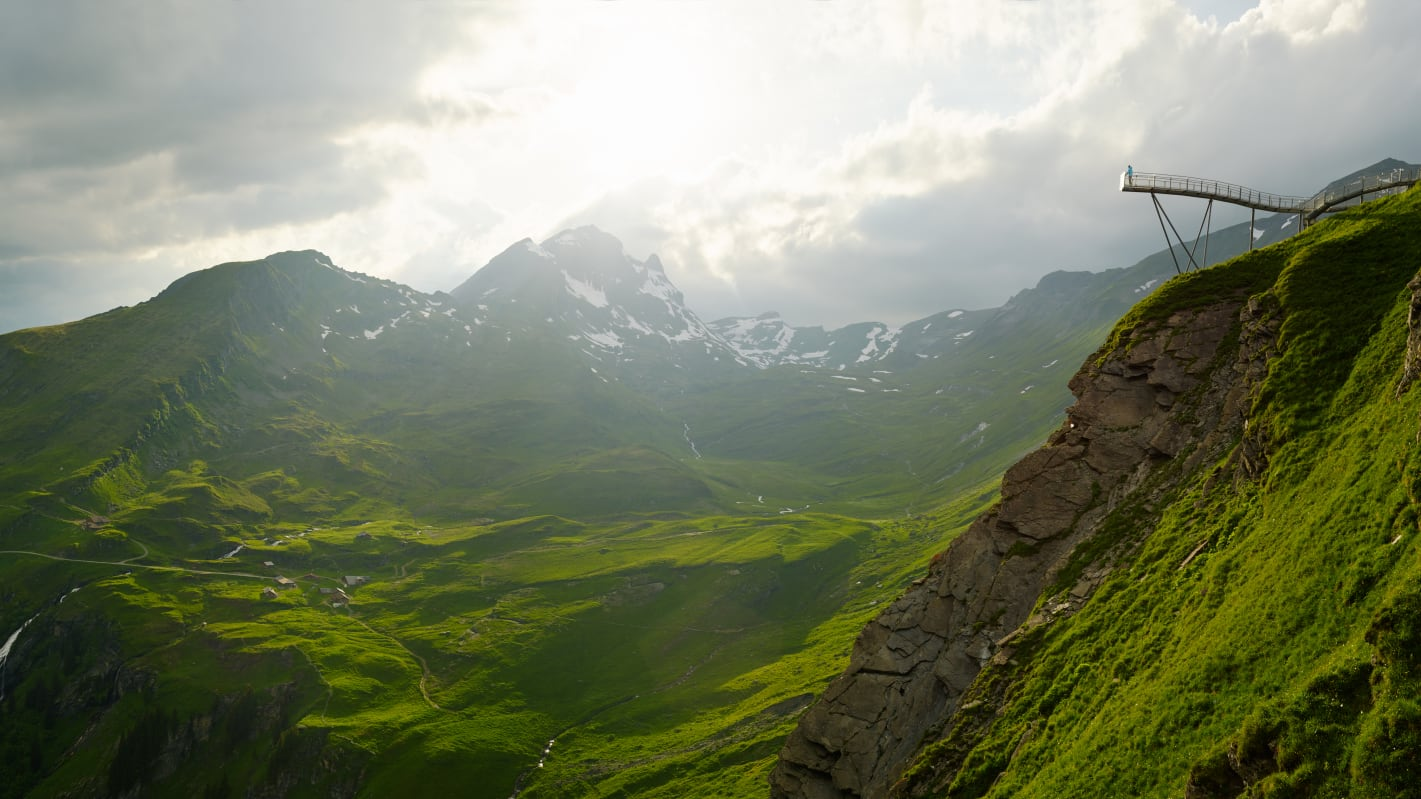[Translate to English:] Grindelwald First Cliff Walk Panorama Alp Bachlaeger