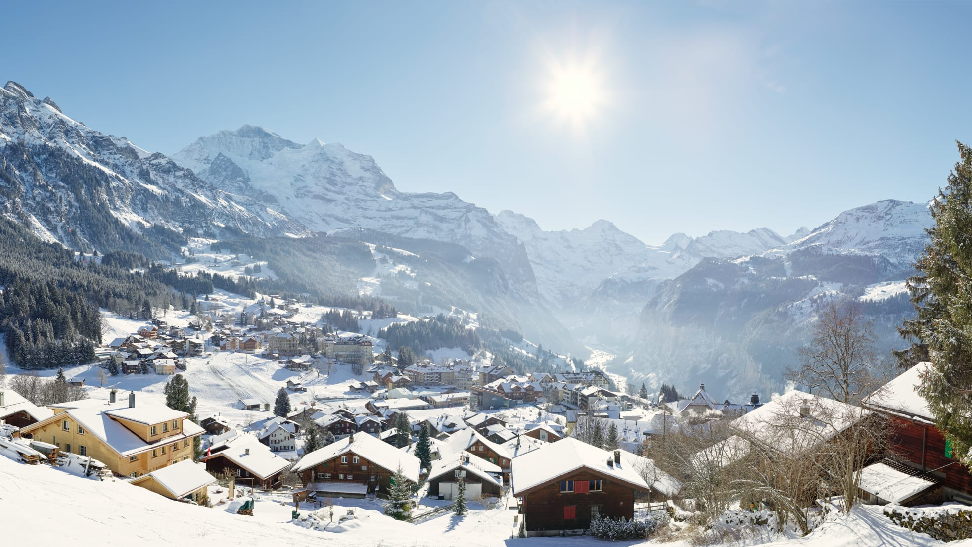 Wengen Winter Panorama Alpen