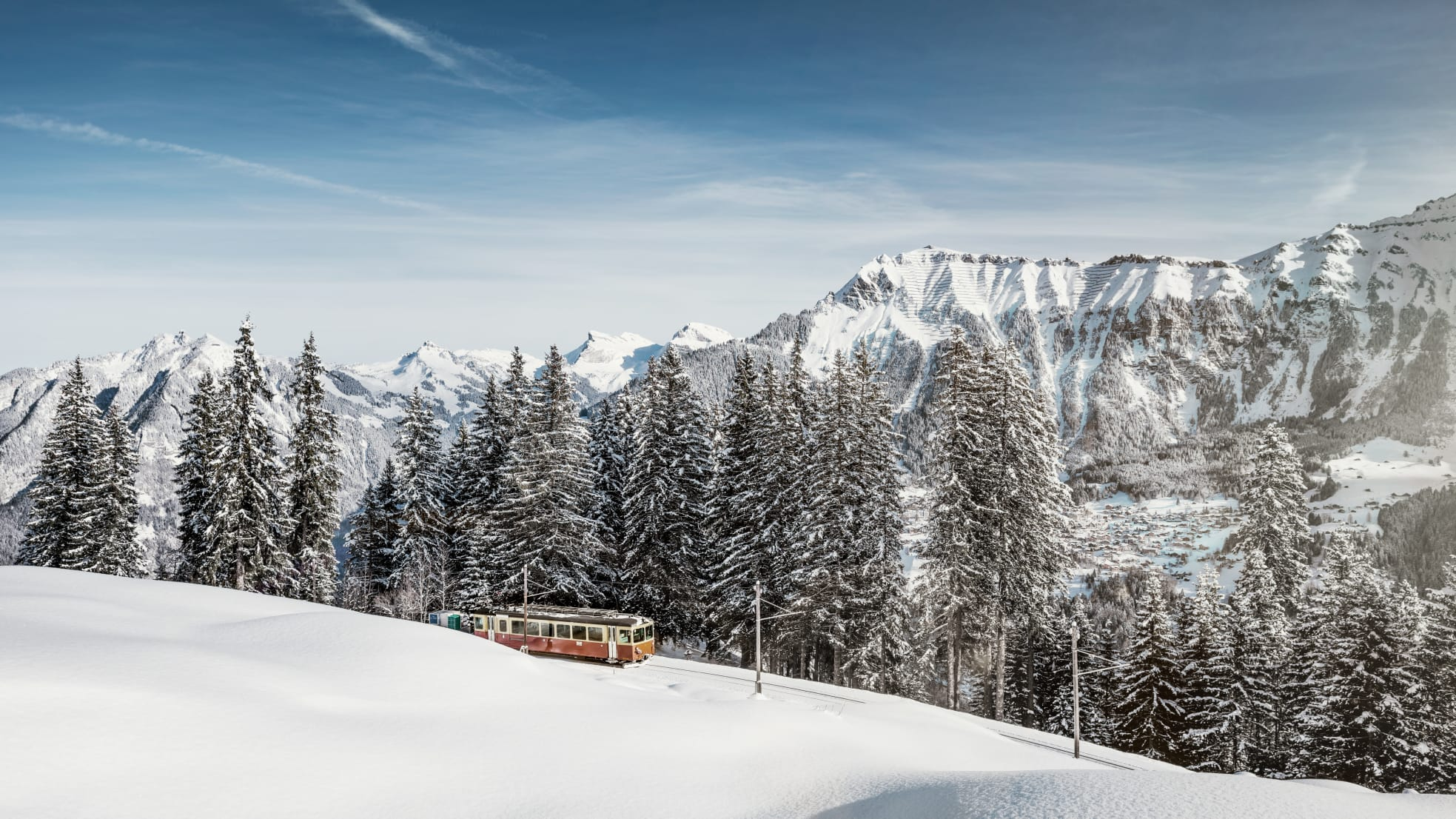 Bergbahn Muerren Winter Schnee