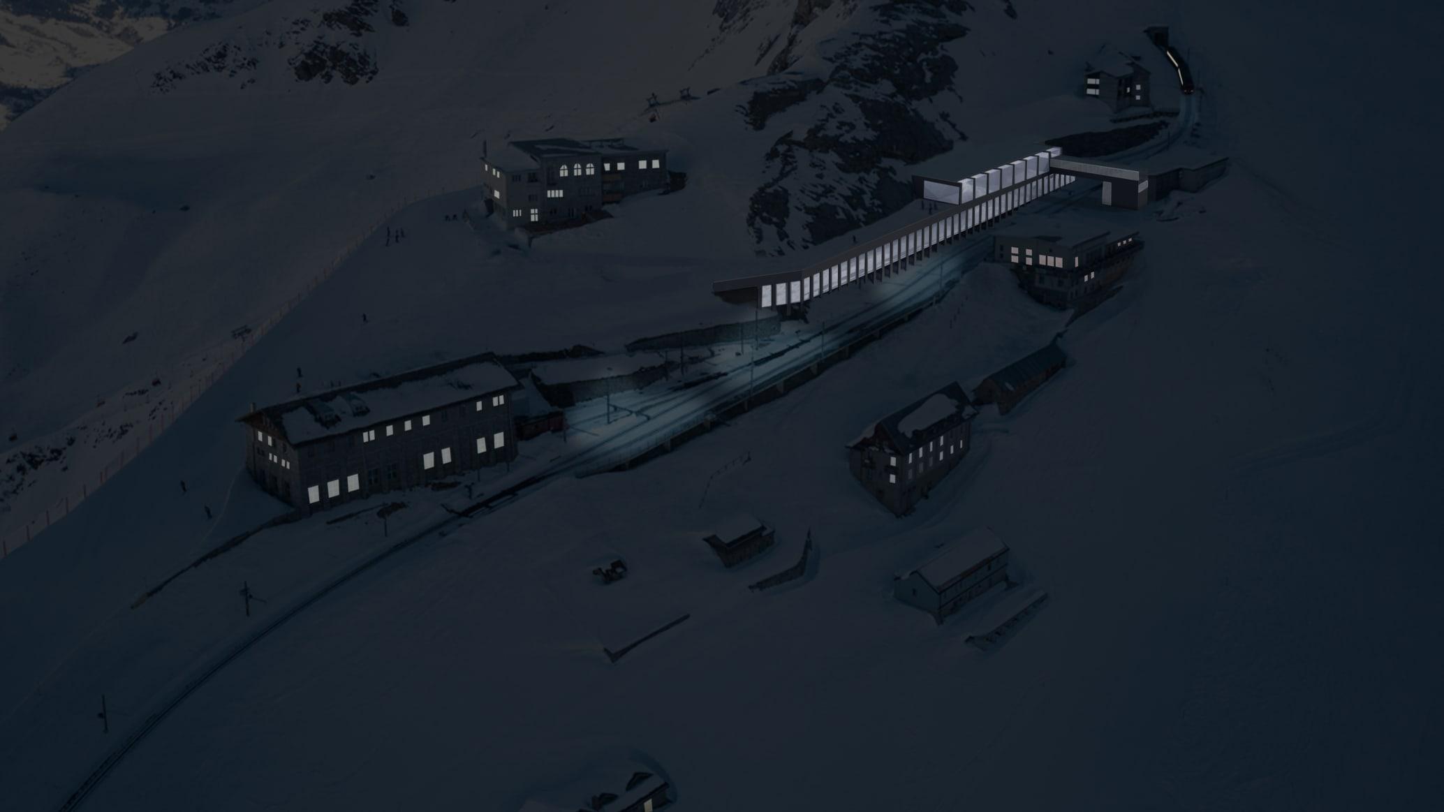 V bahn bergstation eigerglescher aussen nacht 1 jungfrau