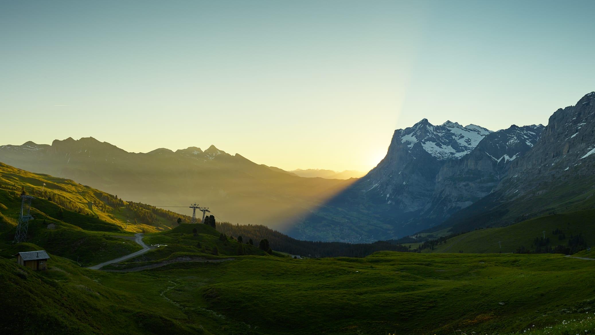 Kleine Scheidegg Sommer Panorama Wetterhorn Sonnenaufgang