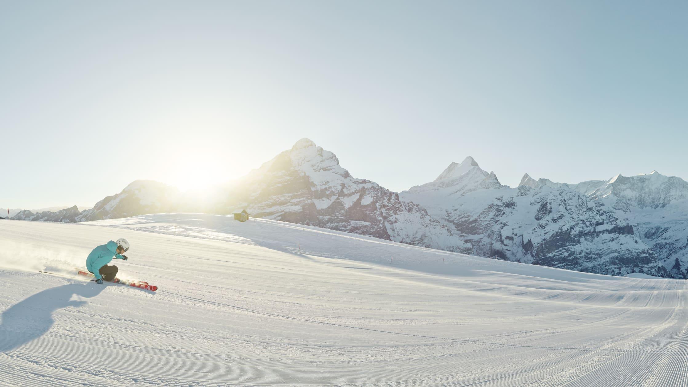 Skifahren Grindelwald First Panorama