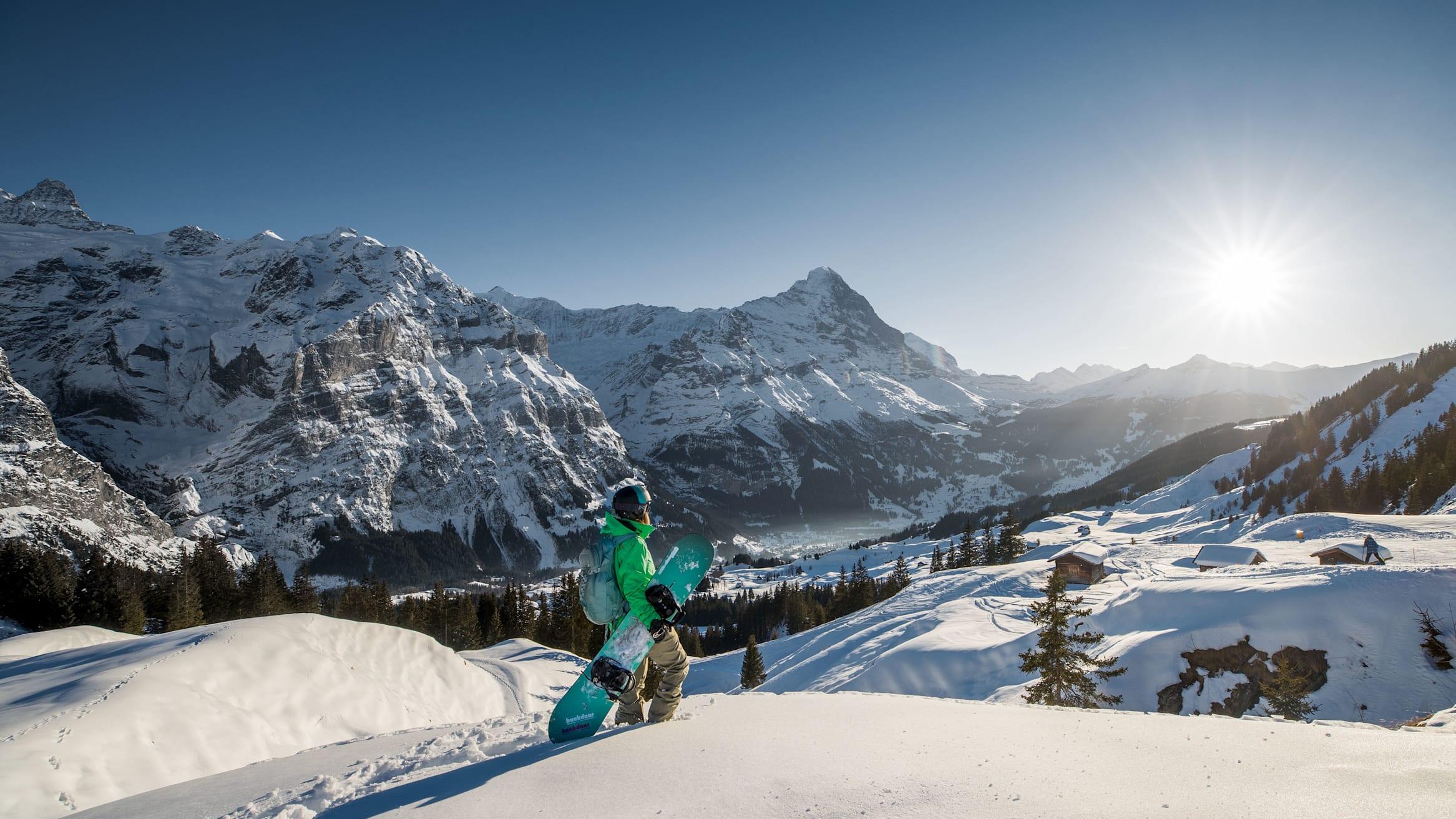 Jungfrau ski region Grindelwald Wengen snowboard Eiger