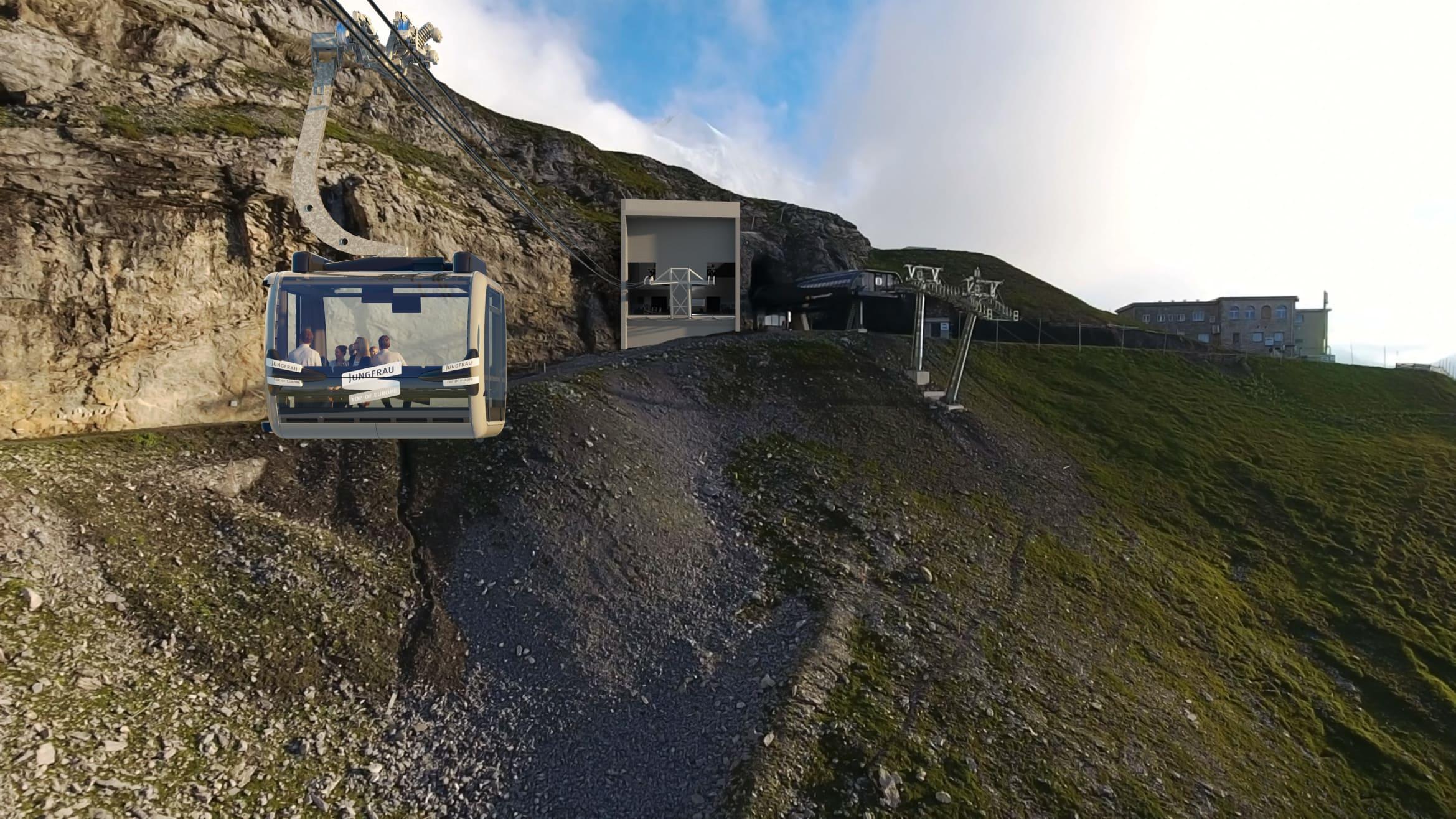 V bahn 3S Gondel Bergstation Eigergletscher