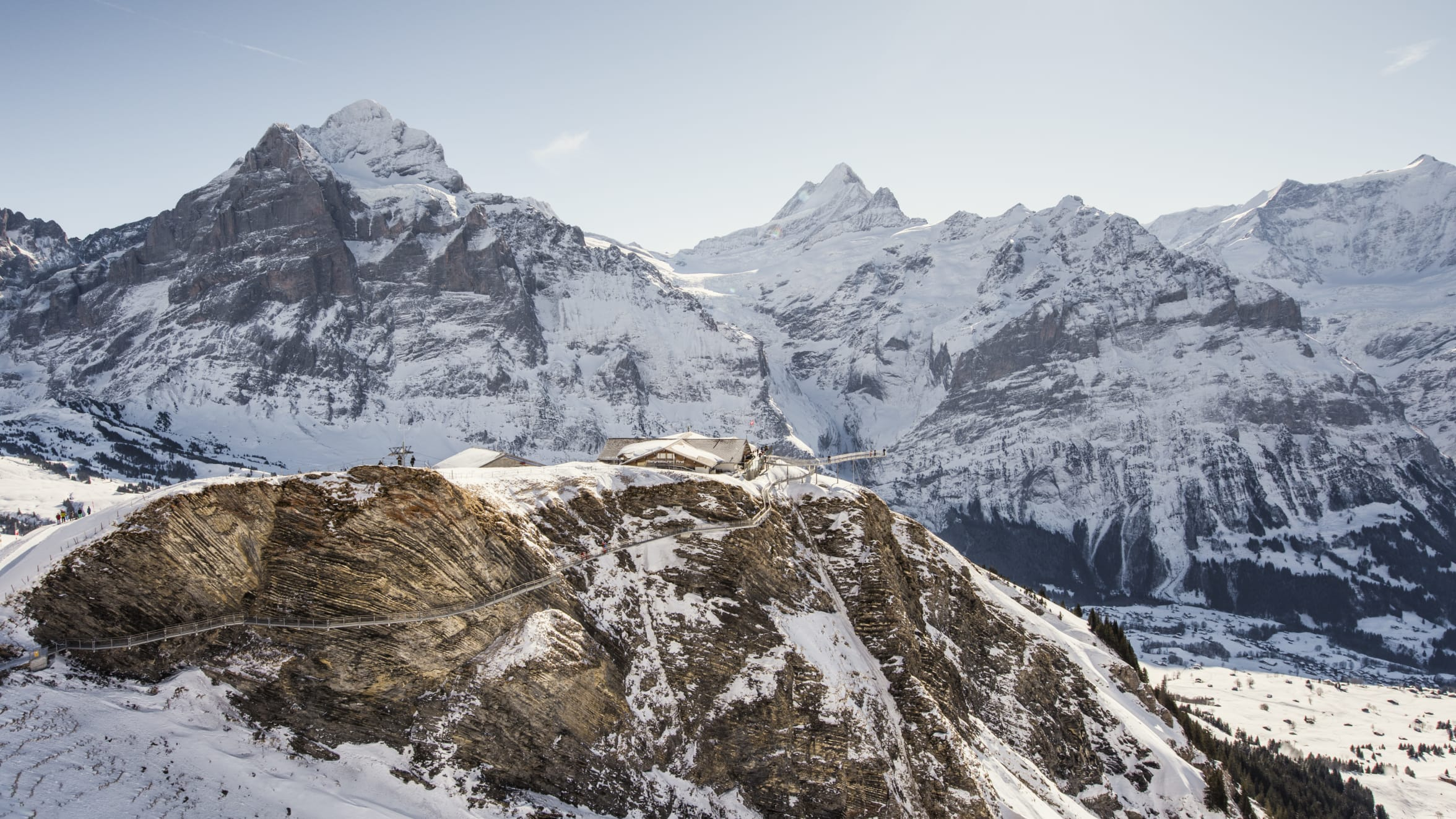 First Cliff Walk Winter Wetterhorn Schreckhorn Panorama Schnee Grindelwald