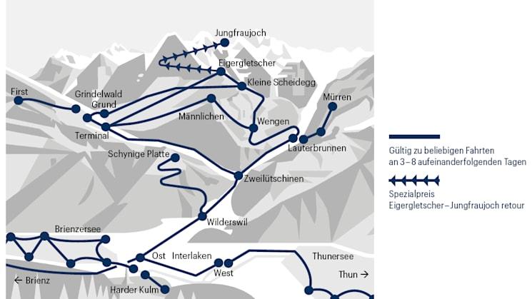 Geltungsbereich Jungfrau Travel Pass
