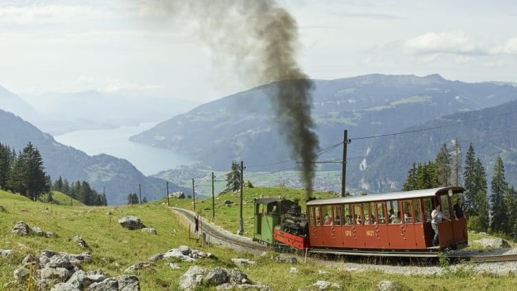 Schynige Platte Zahnradbahn Dampflokomotive Panorama Thunersee