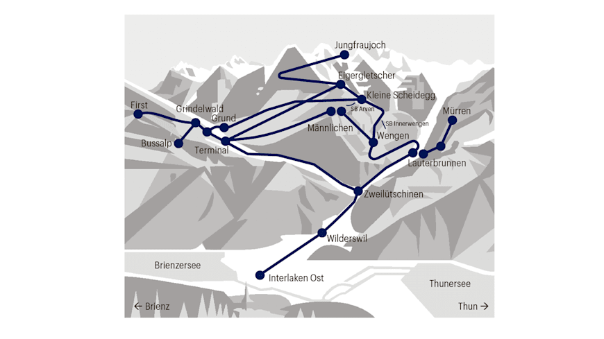 Scope of validity of the Jungfrau Corona Winter Pass