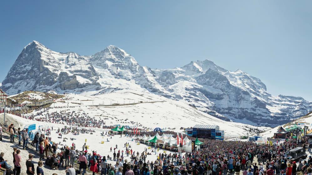 Kleine Scheidegg Snowpenair Eiger Moench Jungfrau Winter