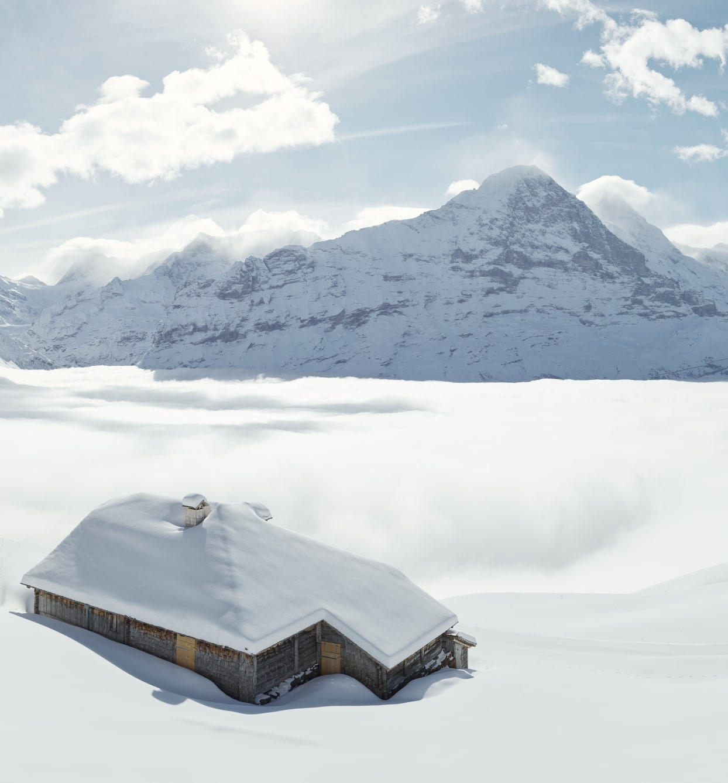 Bussalp Winter Schnee Schreckhorn Eiger Jungfrau