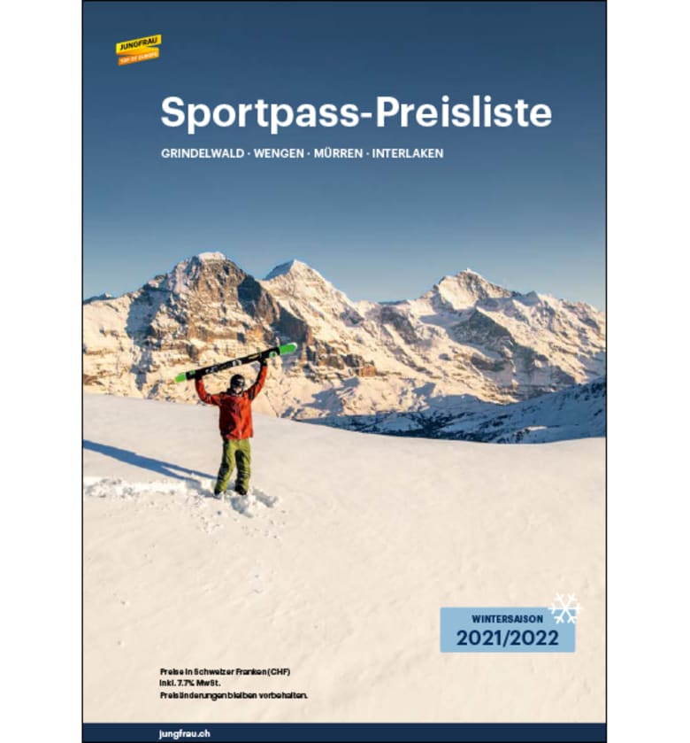 Price list Jungfrau Ski Region